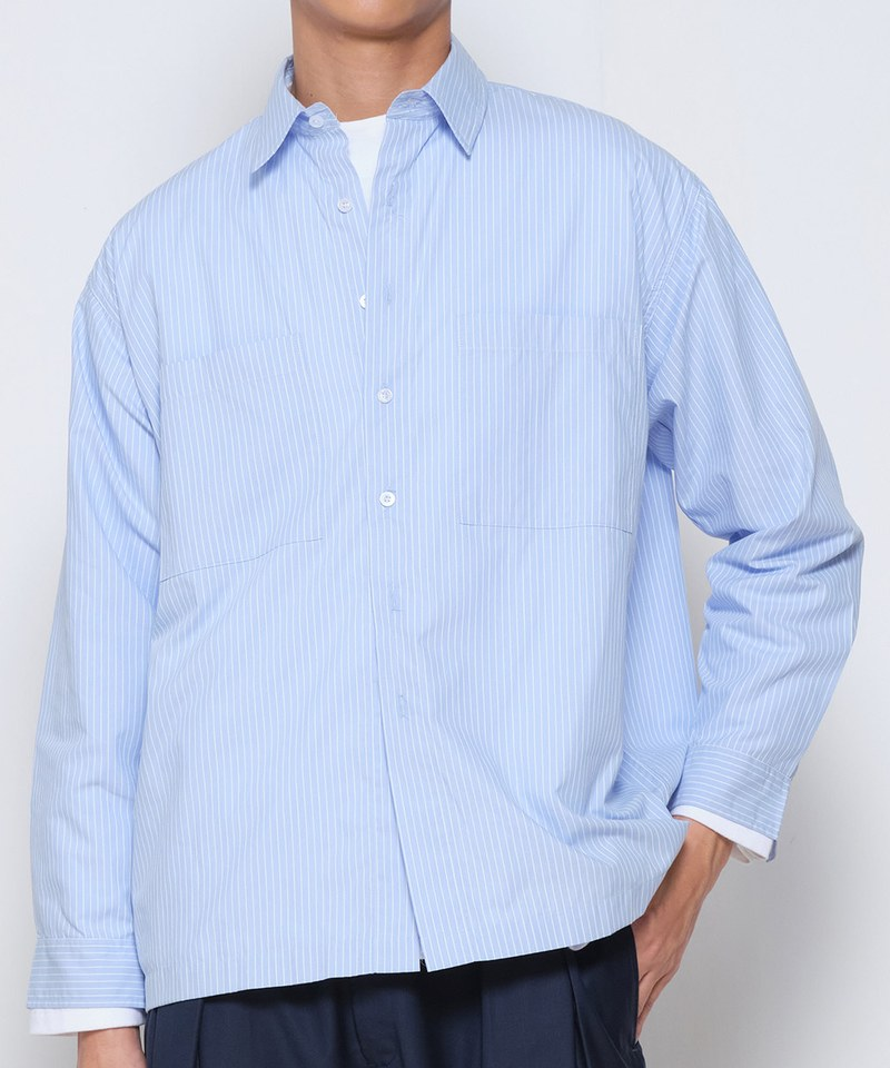 COP33148 棉質條紋口袋寬版襯衫