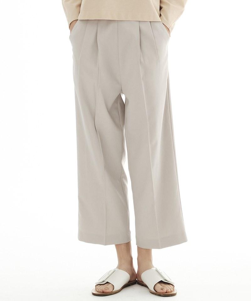 COP3567 女款西裝料壓褶九分褲
