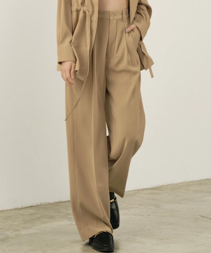 COP4056 【好著】女款垂墜感打褶寬褲