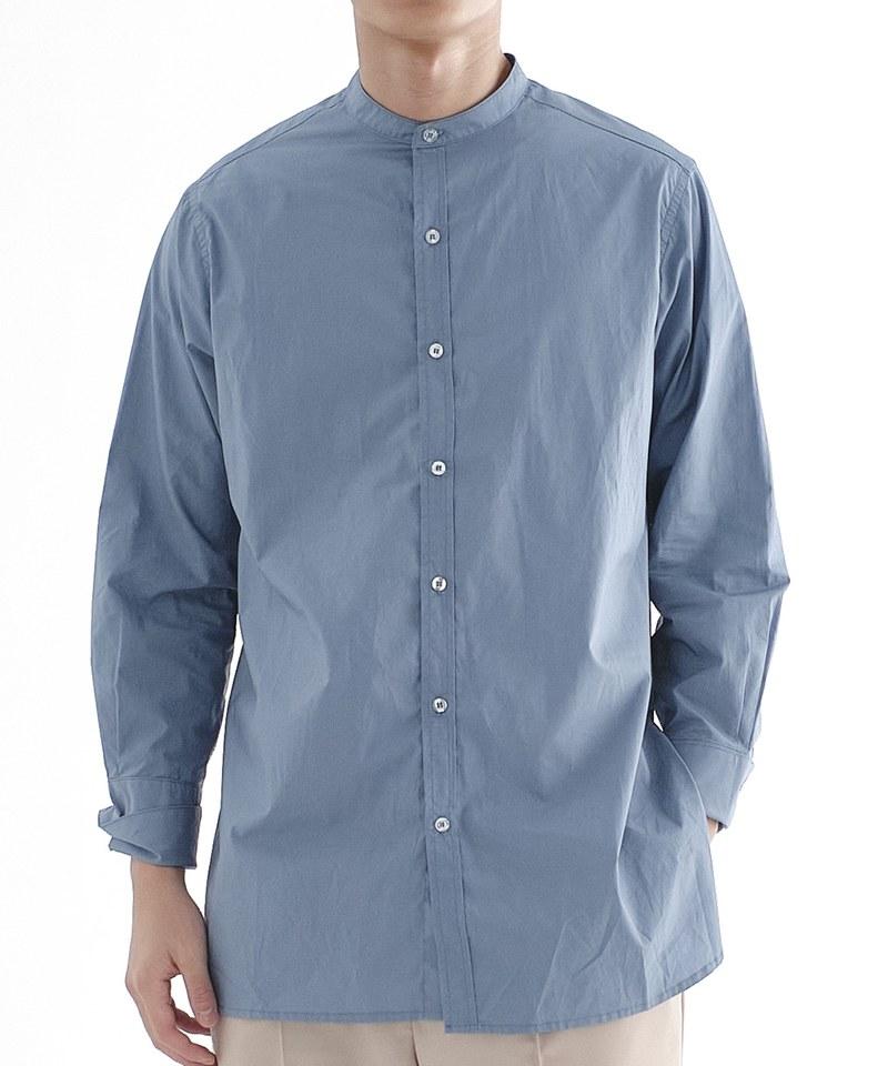 CRV3306 mouggan x plain-me 棉質立領長版襯衫