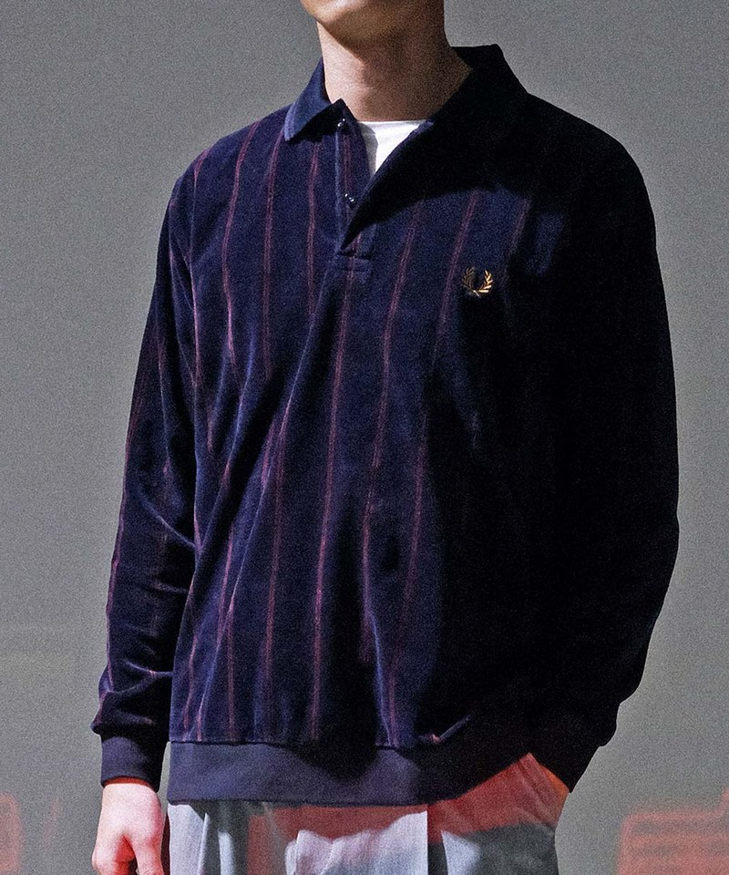 FRP3608 F1847 VELOUR STRIPED POLO SHIRT 絨布直條POLO衫