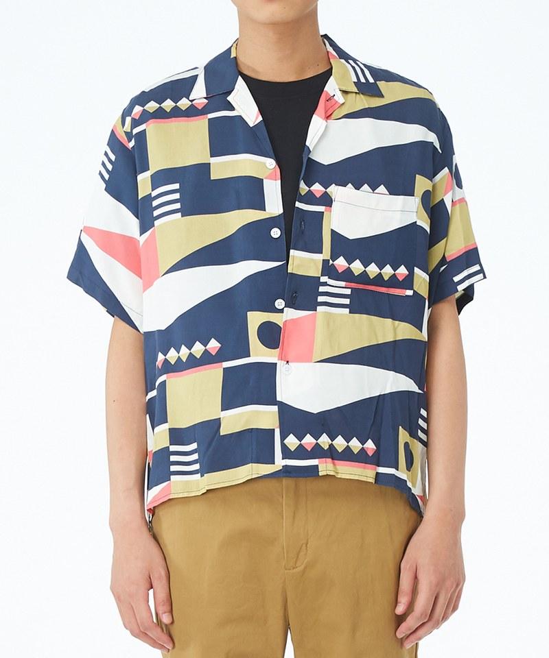 JSD0205 幾何圖形開領短袖襯衫