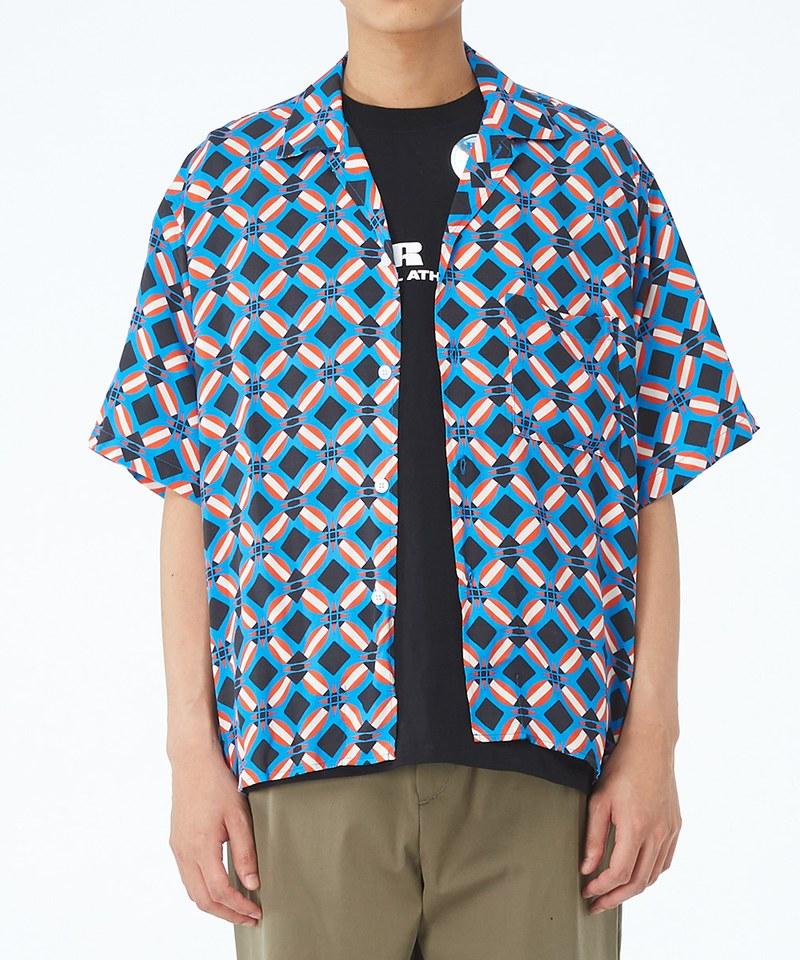 JSD0206 蠟染圖案開領短袖襯衫