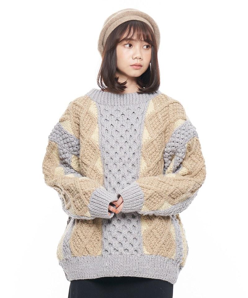 多色手工針織毛衣