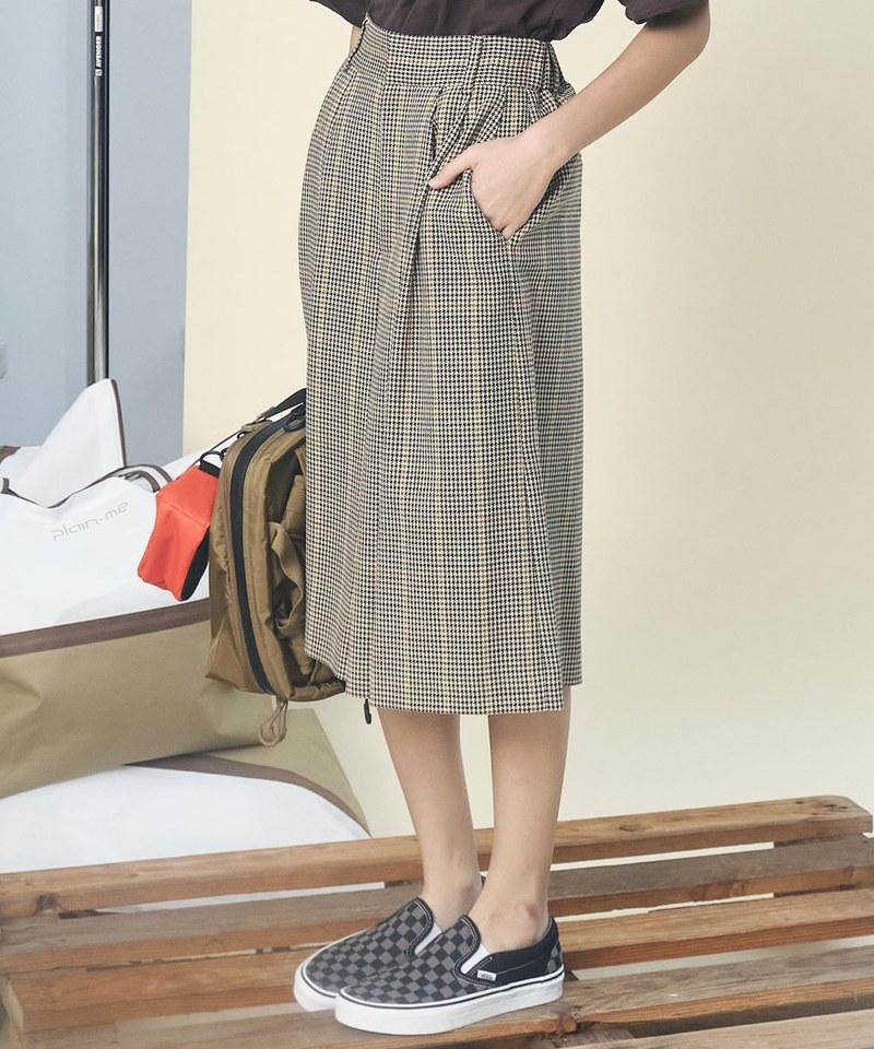 羊毛及膝褲裙