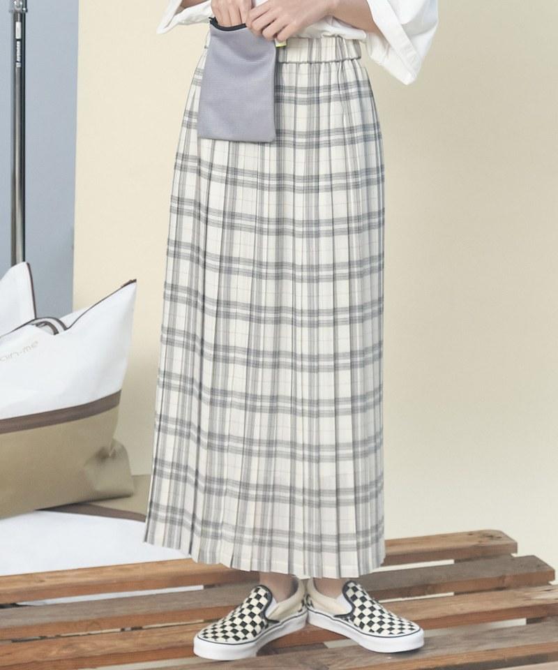 格紋百褶長裙