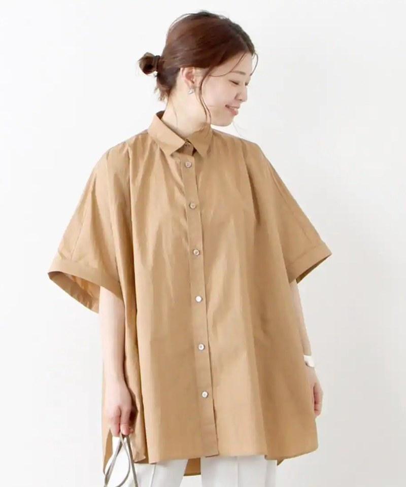 高密度平織斗篷風襯衫