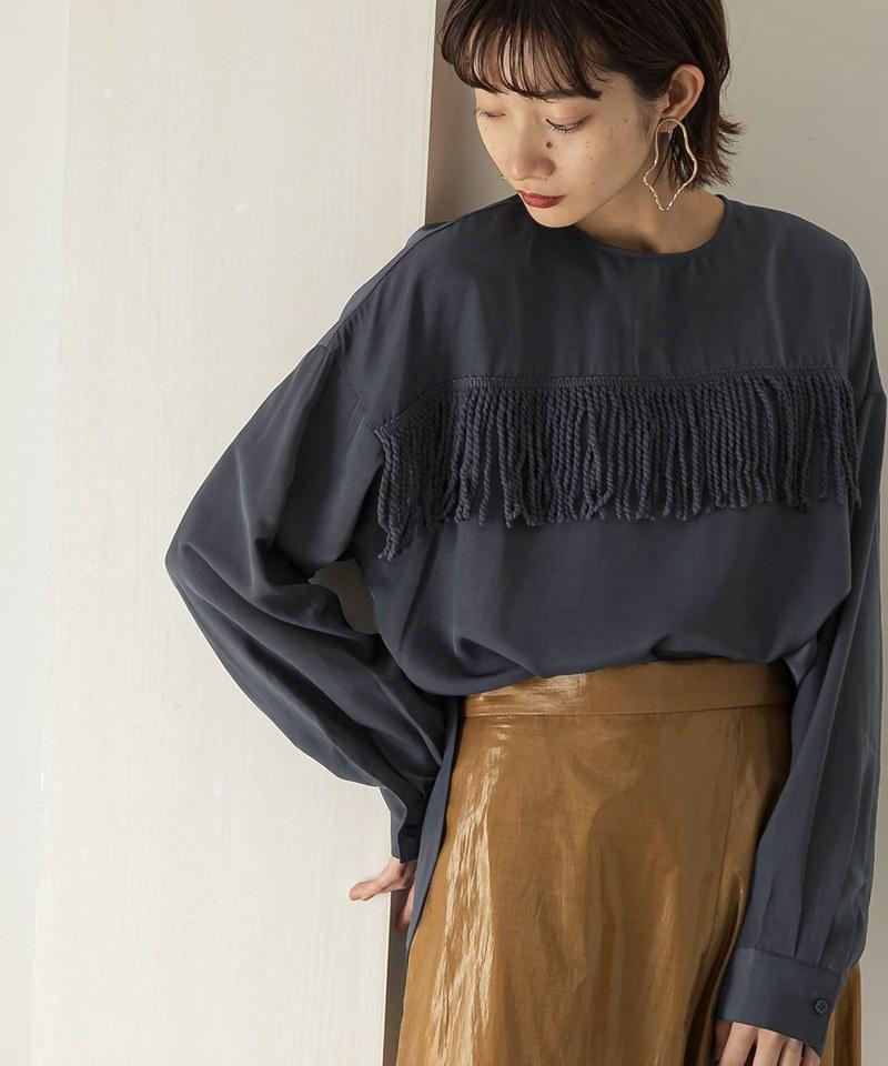 流蘇裝飾沙典緞套衫