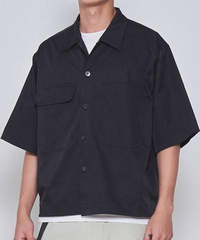 光澤感短袖襯衫