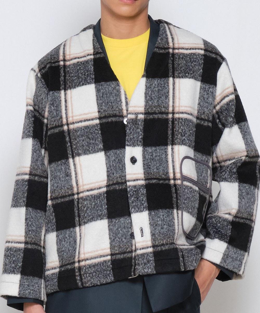 COP11101 毛呢格紋無領外套