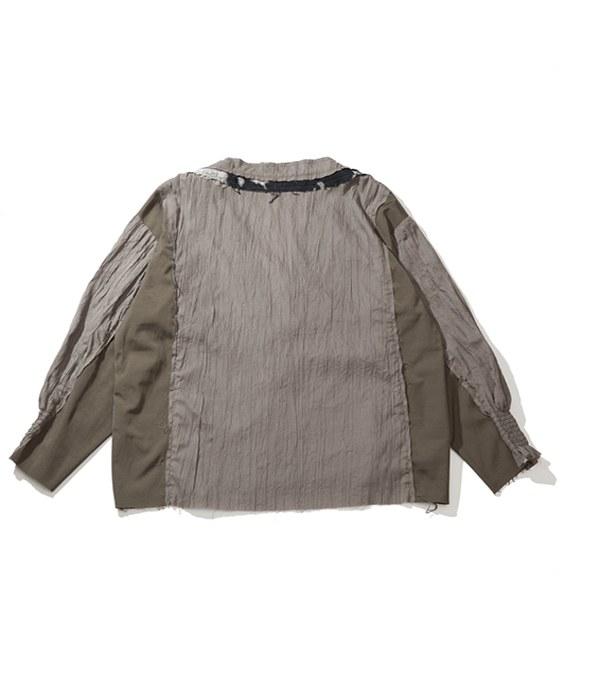 PLT9943 BIG V SPLICED BLOUSE 拼接上衣